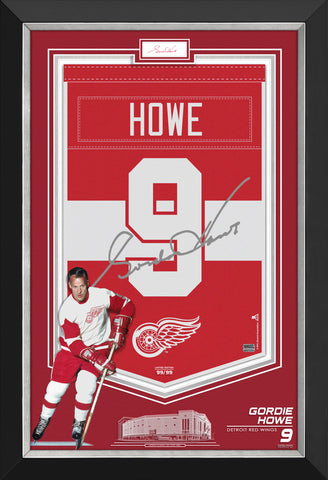 GORDIE HOWE FRAMED ARENA BANNER LIMITED EDITION 99/99 RED WINGS, CUT SIGNATURE