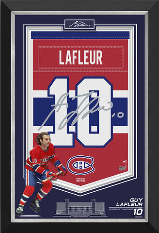 GUY LAFLEUR FRAMED ARENA BANNER LIMITED EDITION /110 CANADIENS, CUT SIGNATURE