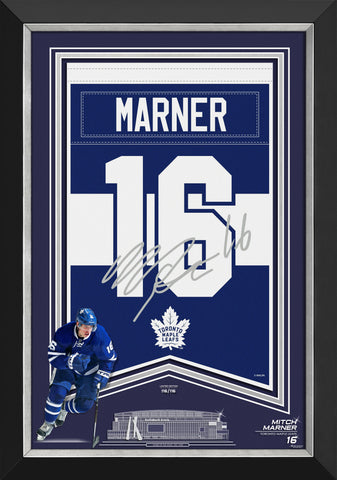 MITCH FRAMED ARENA BANNER LTD ED 116/116 TO MAPLE LEAFS, FACSIMILE SIGNED