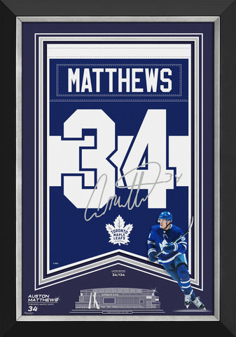 AUSTON MATTHEWS ARENA BANNER LTD ED 34/134 TO MAPLE LEAFS, FACSIMILE SIGNED