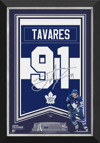 JOHN TAVARES FRAMED ARENA BANNER LTD ED 1/91 TO MAPLE LEAFS, FACSIMILE SIGNED