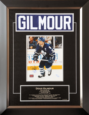 DOUG GILMOUR CAREER COLLECTIBLE NAMEBAR LTD ED #93 OF 93 MUSEUM FRAMED