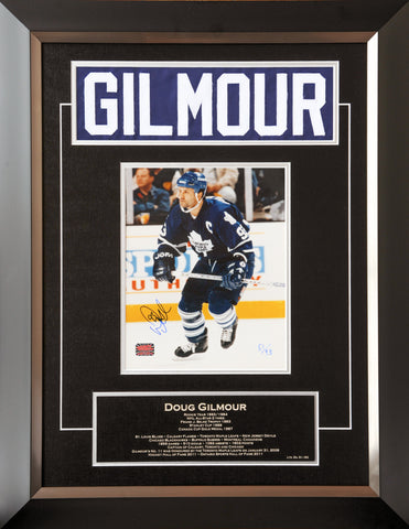 DOUG GILMOUR CAREER COLLECTIBLE NAMEBAR LTD ED OF 93 MUSEUM FRAMED