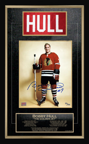 BOBBY HULL CAREER COLLECTIBLE NAMEBAR LTD ED #99 OF 99 MUSEUM FRAMED