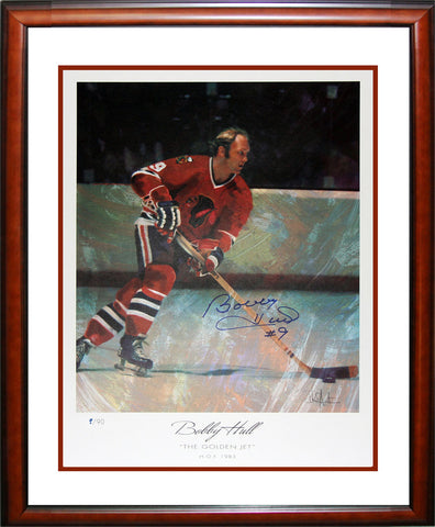 AUTOGRAPHED BOBBY HULL LITHOGRAPH LIMITED EDITION 9 OF 90 - CHICAGO BLACKHAWKS
