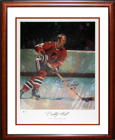AUTOGRAPHED BOBBY HULL LITHOGRAPH LIMITED EDITION 9 OF 9 - CHICAGO BLACKHAWKS