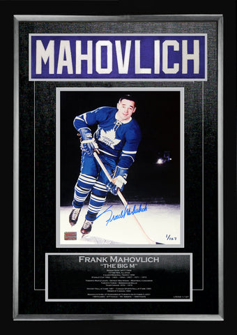 FRANK MAHOVLICH CAREER COLLECTIBLE NAMEBAR LTD ED #1 OF 127 MUSEUM FRAMED