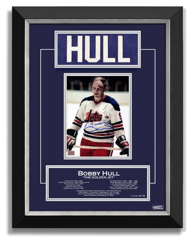 BOBBY HULL WINNIPEG JETS COLLECTIBLE NAMEBAR, LTD ED /99 CAREER STATS
