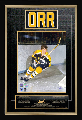 BOBBY ORR CAREER COLLECTIBLE NAMEBAR LTD ED OF 444 MUSEUM FRAMED