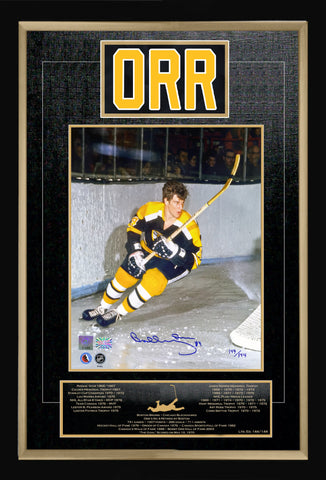 BOBBY ORR CAREER COLLECTIBLE NAMEBAR SIGNED LTD ED #144/144 MUSEUM FRAMED