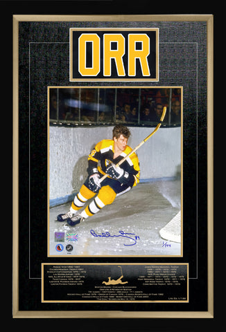 BOBBY ORR CAREER COLLECTIBLE NAMEBAR SIGNED LTD ED #1 OF 144 MUSEUM FRAMED