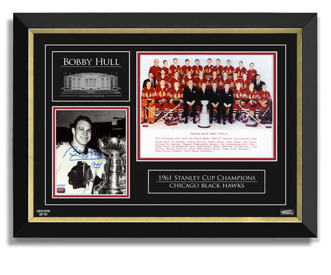 AUTOGRAPHED BOBBY HULL '61 STANLEY CUP - LTD 161 DOUBLE PHOTO