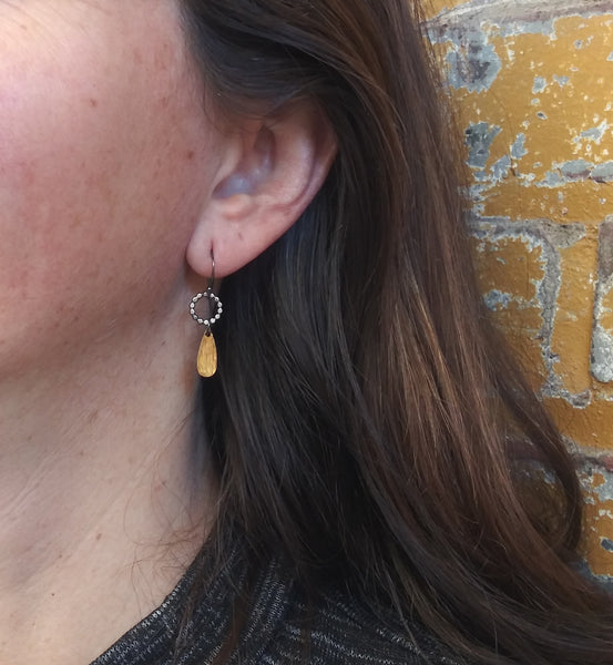 Handmade Silver and Gold Drop Earrings