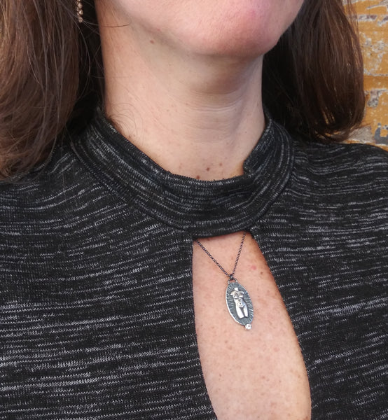 Handmade Silver Venus Necklace with Topaz