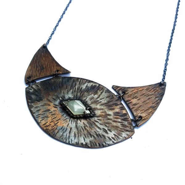 Bronze and Mother of Pearl Inner Eye Lunar Necklace