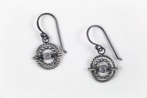 Handmade Sterling Silver Inner Compass Earrings with white topaz