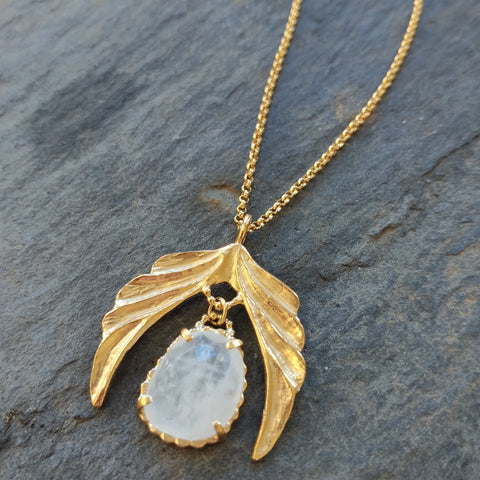 Moonstone 18k Gold Vermeil Wing Necklace