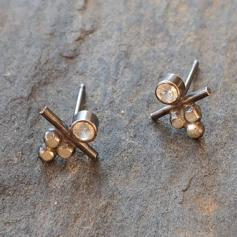 Handmade White Topaz and Silver Stud Earrings