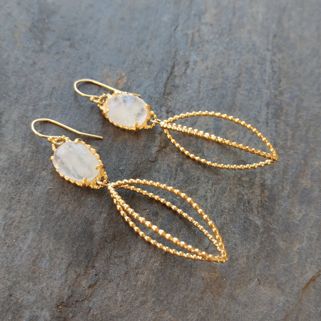Moonstone and 18k Gold Celebration Earrings