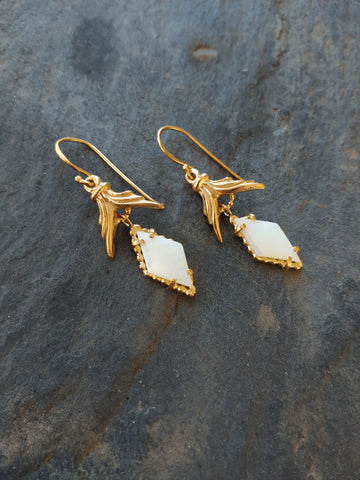 Handmade Vermeil Mother of Pearl Wing Earrings