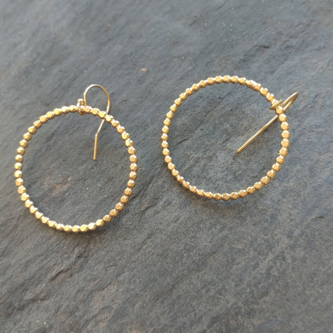 Gold Vermeil Dotted Circle Earrings