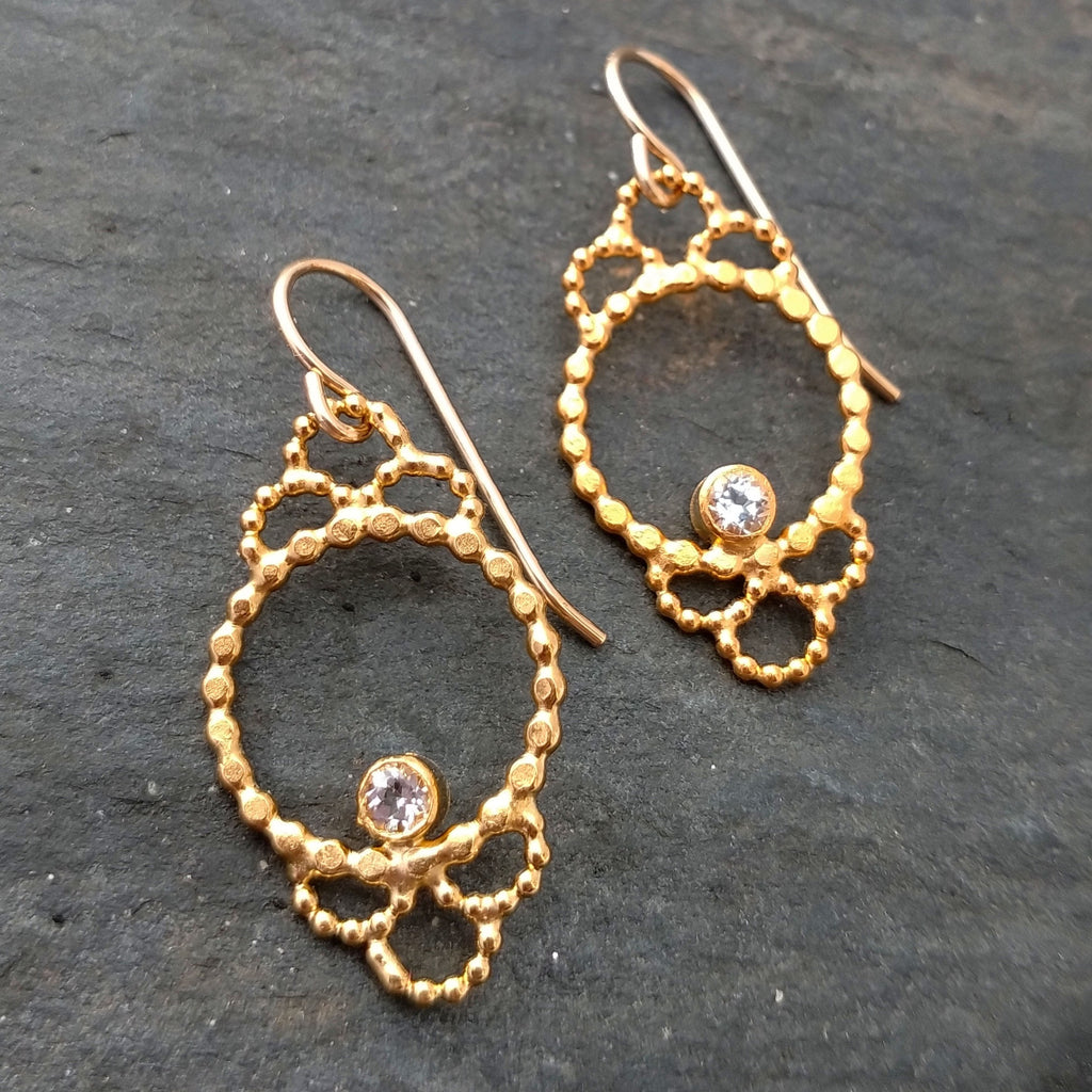 Lacy Vermeil Cameo Earrings with White Topaz