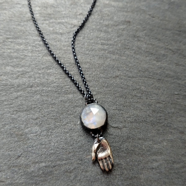 Handmade Moonstone and Hand Talisman Necklace