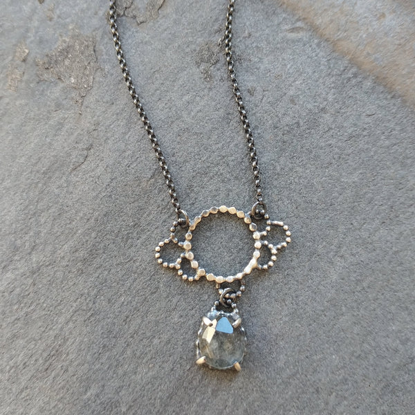 Handmade Aquamarine Lacy Sterling Silver Necklace