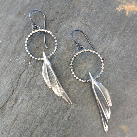 Handmade Sterling Silver Wing and Dot Earrings