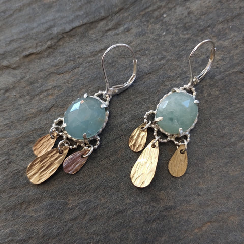 Aquamarine and Gold Handmade Drop Earrings