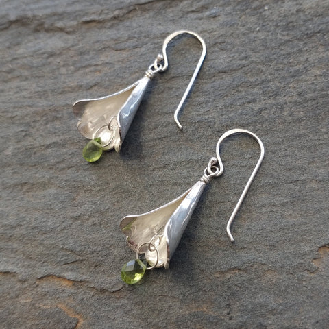 Hammered Silver Fairy Hats with Peridot