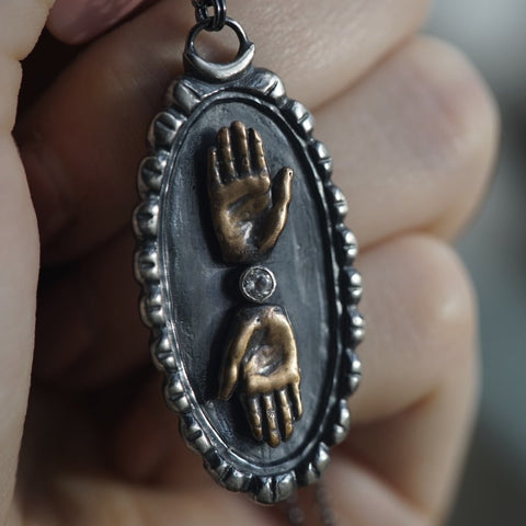 Double Hand Cameo Necklace