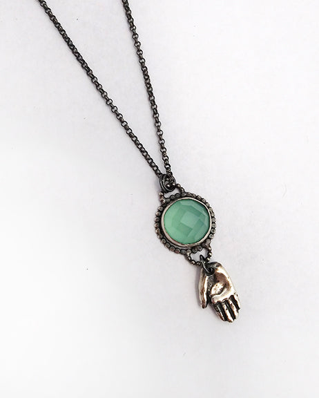 One of a kind Aquamarine Hand Talisman Necklace