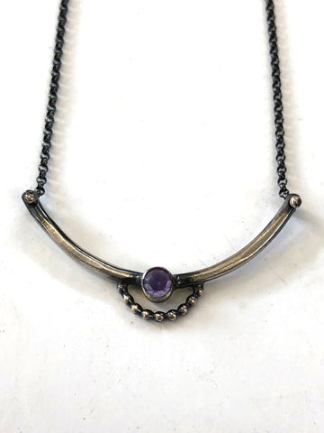 Handmade Sterling Silver and Amethyst Bar Necklace