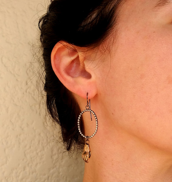 Handmade Bronze Hand and Silver Dots Earrings