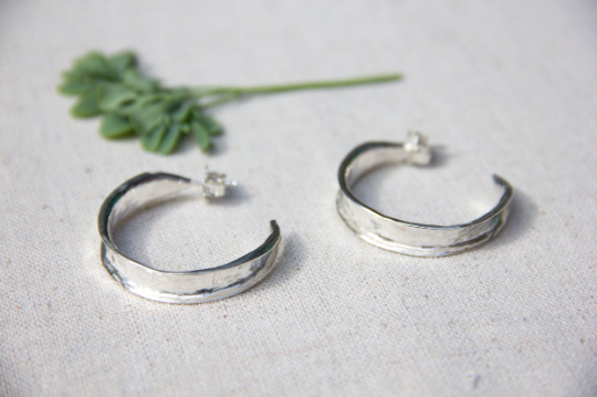 Handmade Hammered Hoop Earrings