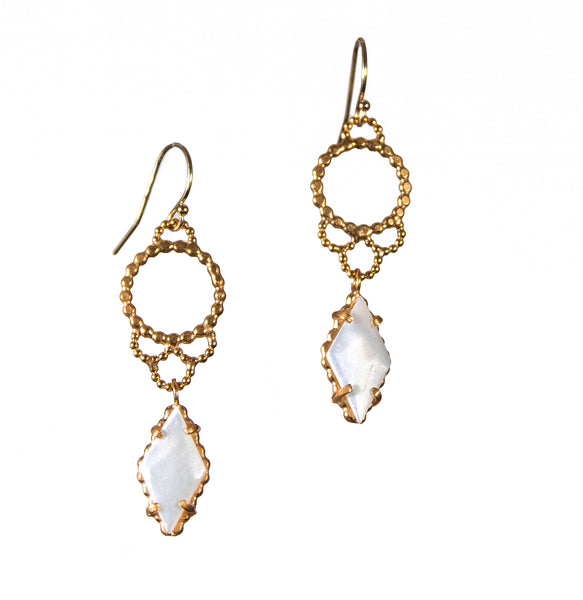 Handmade Gold Vermeil Lacy Earrings with Mother of Pearl
