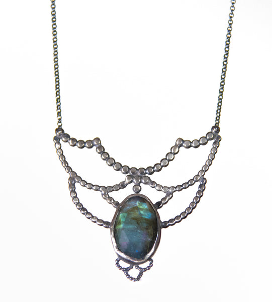 Victorian Inspired Labradorite Lacy Necklace