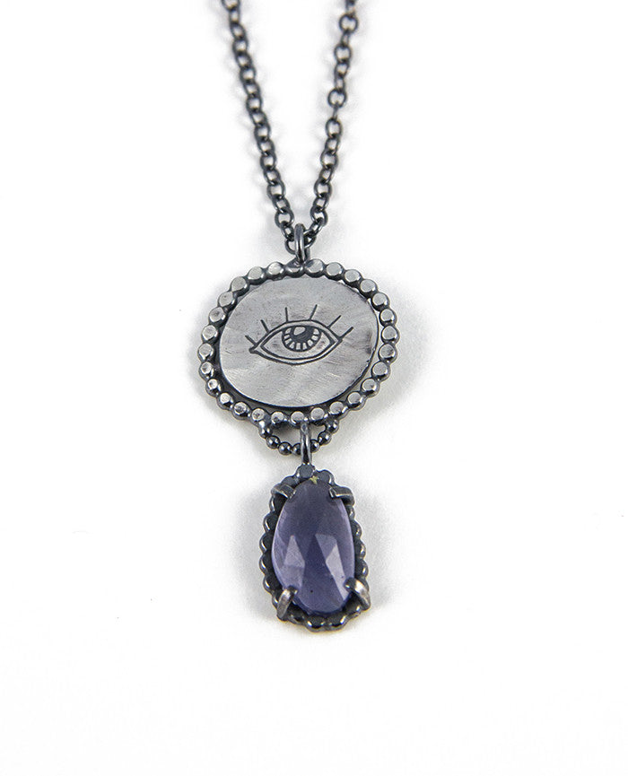 necklace pendant sterling druzy gemstone iolite blue tanzanite and home azurite silver loading zoom