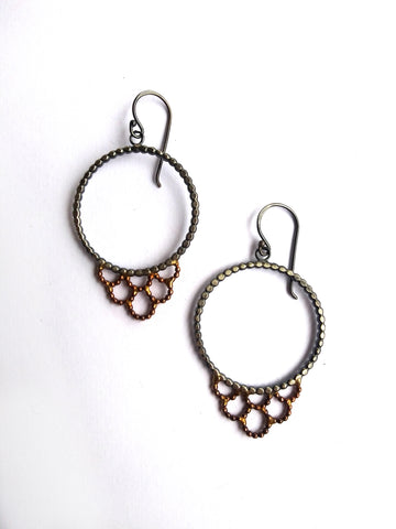 Handmade Bimetal Lacy Earrings