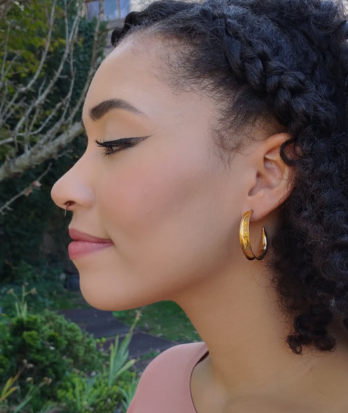 18k Gold vermeil hammered swoop hoops
