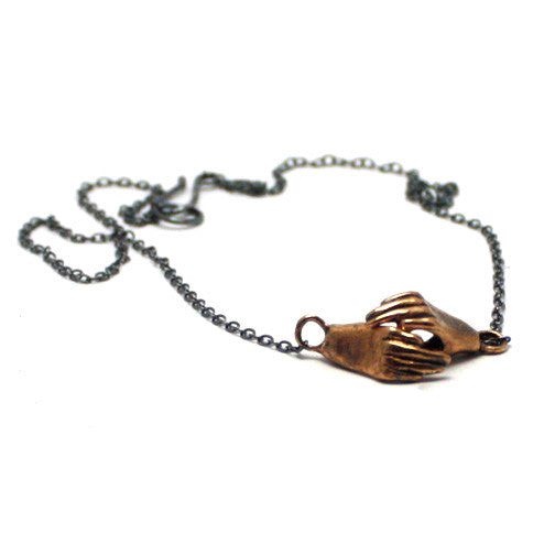 Handmade Bronze Holding Hands Necklace