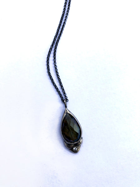 One of a kind Labradorite and white sapphire