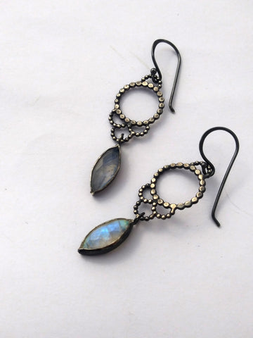 One of a Kind Handmade Sterling Silver Lacy Earrings with Moonstone Droplets