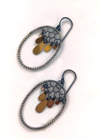 Handmade Big Lacy and Golden Drop Earrings