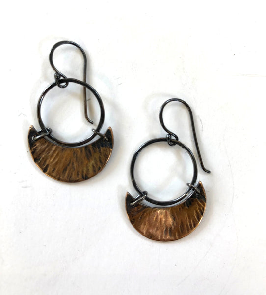 Handmade Bronze and Silver Moon Earrings