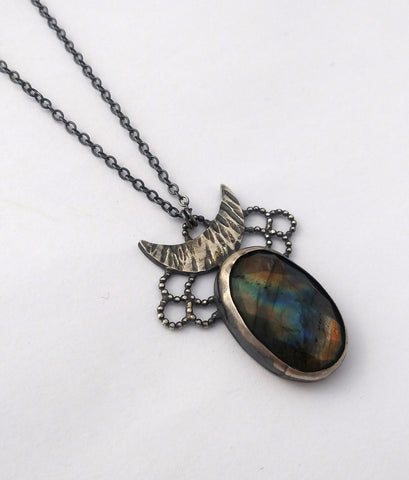 One of a Kind Labradorite Lacy Moon Necklace