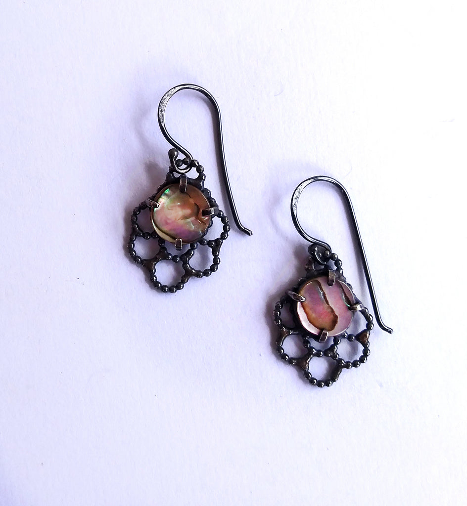 Handmade Mother of Pearl Lacy Earrings