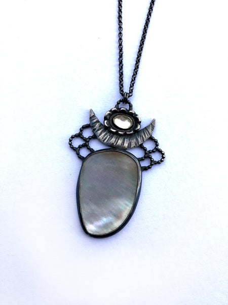 One of a kind Mother of Pearl and White Topaz Magic Moon Talisman