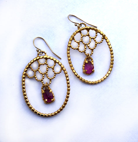 One of a Kind Pink Tourmaline Vermeil Lacy Earrings